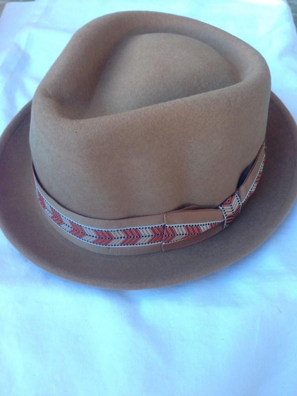 Felt hat brown ribbon