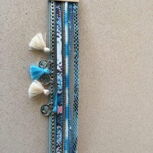Turquoise blue bracelet pompoms