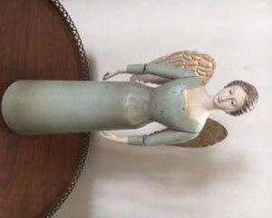 Magnifique Ange vert ailes dorees 36 cm