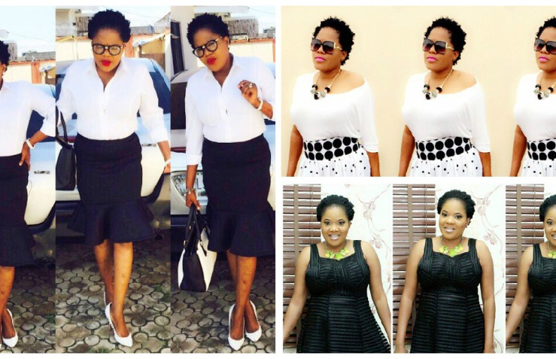 toyin ayimaku in black and white dress-amillonstyles