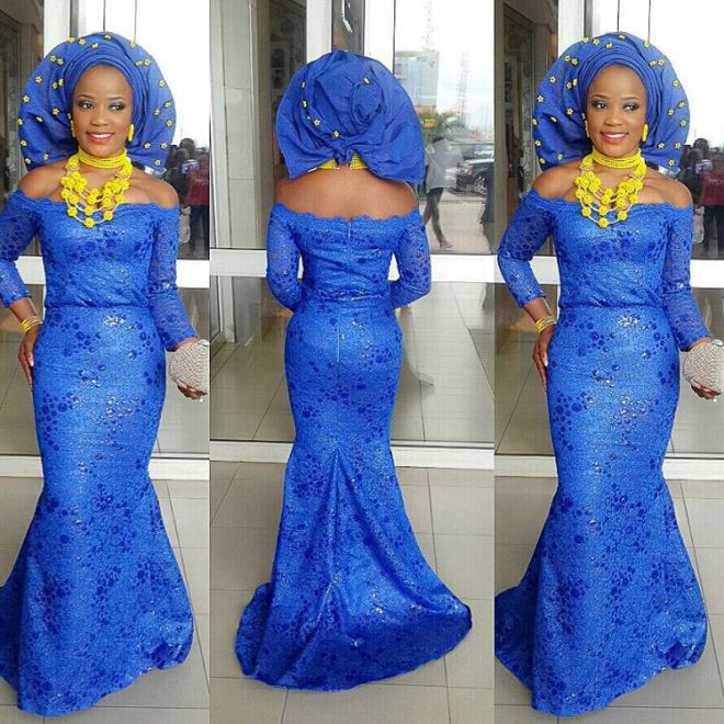 Colorful Aso ebi In Lace Long Gown Lookbook #10.