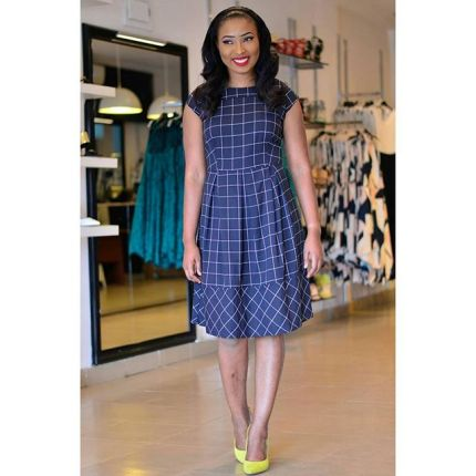 Corporate Wears From Debra Grace - Grid Print Skater Dress UK