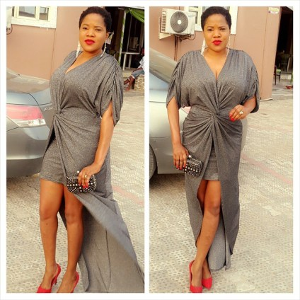 Toyin Aimakhu Slaying wrap dress