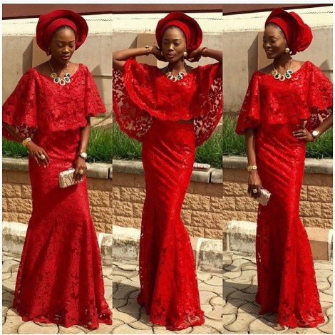 latest aso ebi styles red color