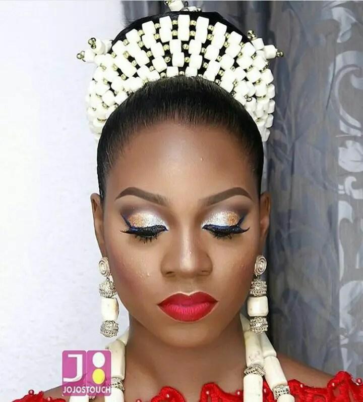 10 Lovely Traditional Bridal Makeup Looks amillionstyles @asoebiworld