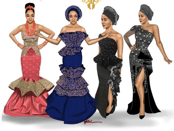 The Four Beautiful Attires Adeswa Etomi Wore For Her Wedding #BAAD2017