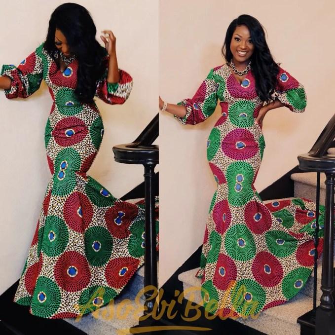 See These Long Body Hugging Ankara Styles