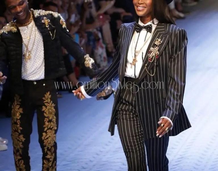 Wizkid Models For Dolce And Gabbana At Milan Fashion Week