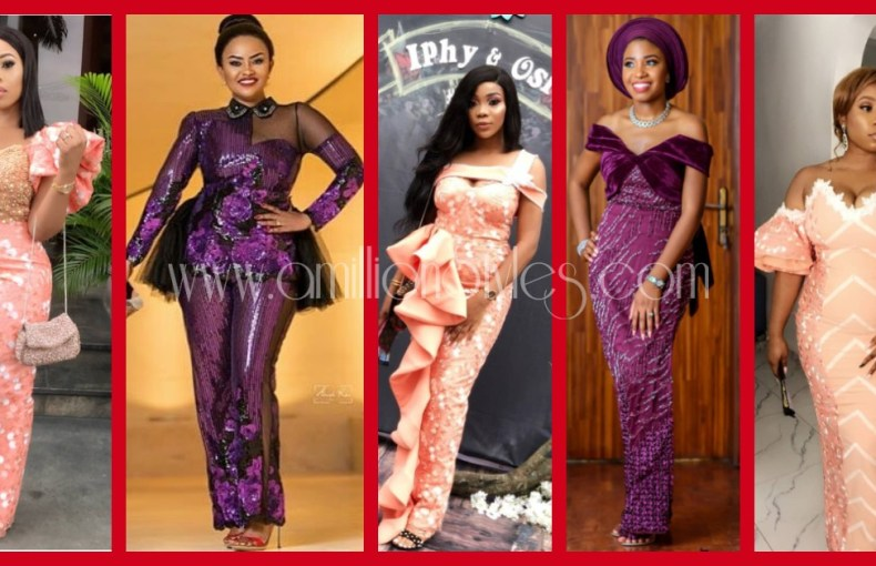 Purple And Peach Lace Asoebi Styles!