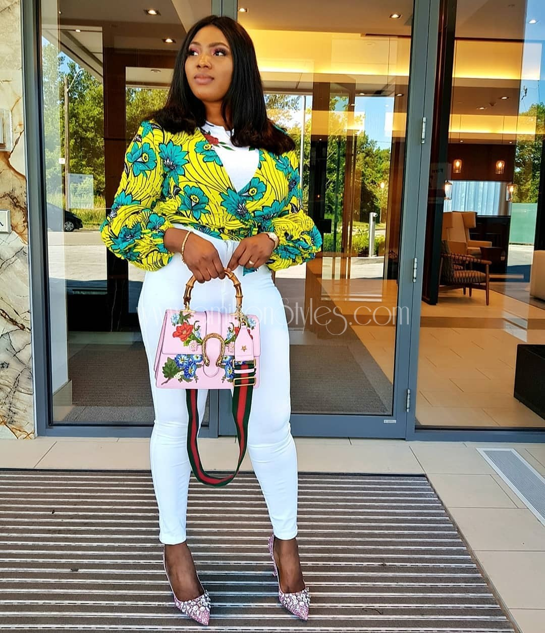 Learn How To Rock White Shirt Plus Ankara Combo
