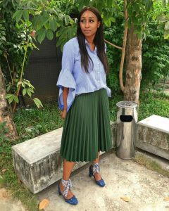 Veronica Odeka Is The Queen Of Re-rocking As She Styles Her Pleat Skirt Seven Times!