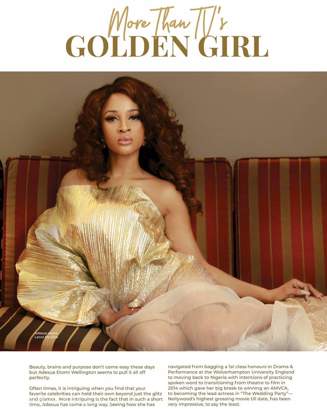 "Adesua Etomi Wellington Looks Amazing In GTBank Fashion Weekend's Magazine ""Africa's Finest"""