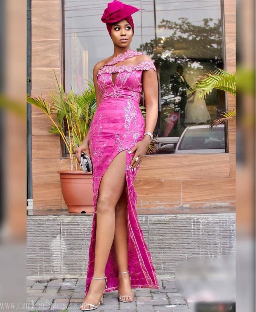 Latest Lace Asoebi Styles Volume 13  Check Out Fashionable And Classy Lace Asoebi Styles asoebi  lillyafe in dress by  suemanuell amillionstyles