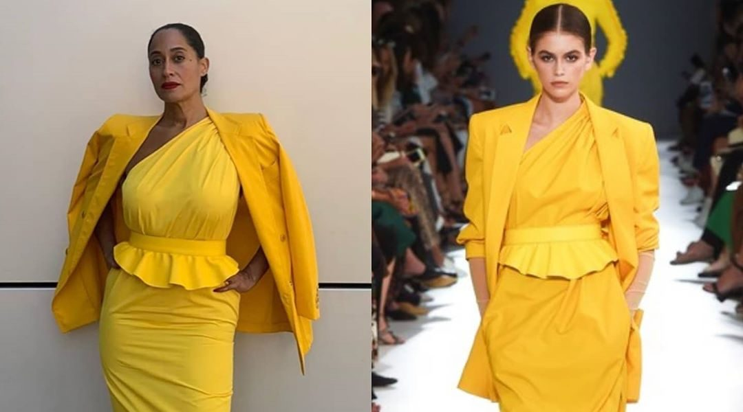 Tracee Ellis Ross In Yellow Asymmetrical Peplum Dress From Max Mara