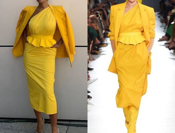 Tracee Ellis Ross In Yellow Asymmetrical Peplum Dress From Max Mara