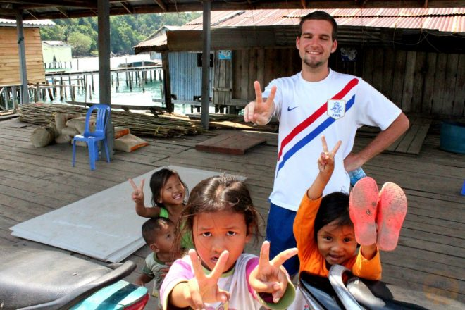 Edo with some cute kids - Koh Rong Island