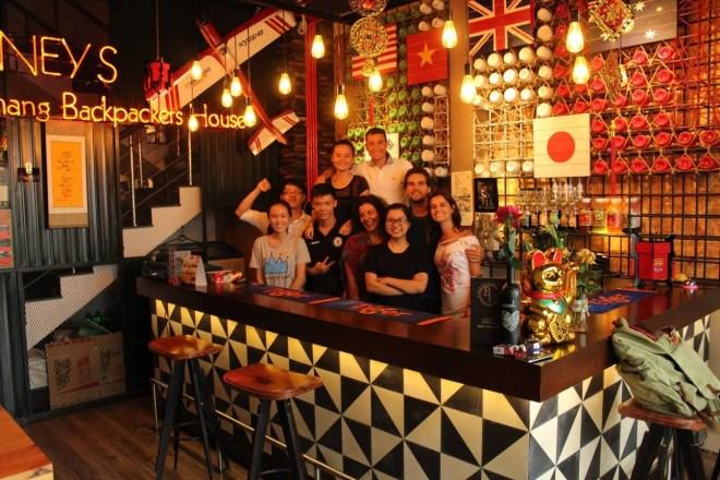 Bar area and staff, hostel in da nang