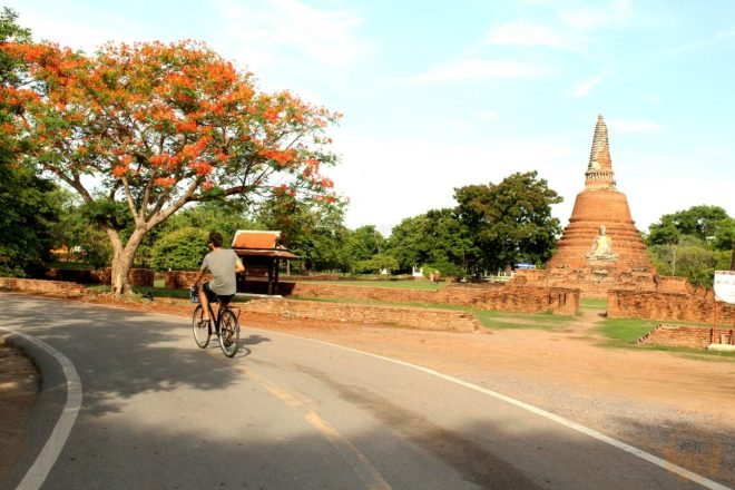 Cycling at dawn surrounded by temples