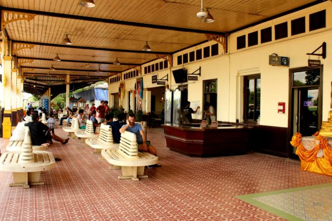 Waiting for the train from Ayutthaya to Bangkok