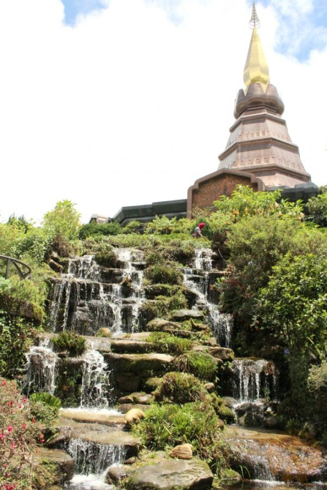 The stupas rise above Doi Inthanon peak