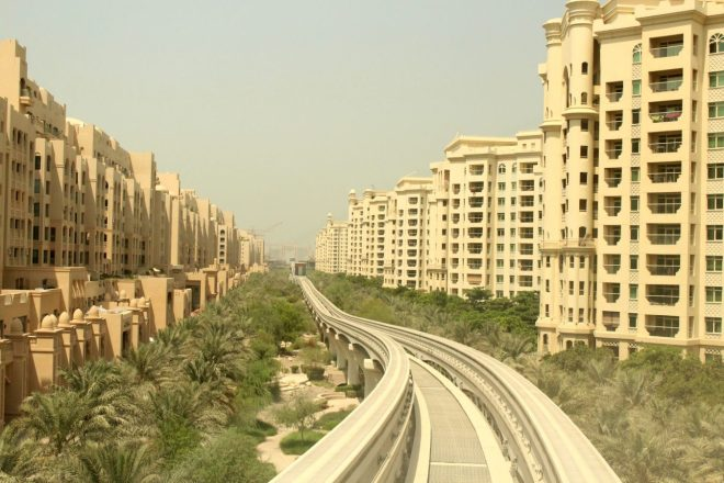 View on Palm Jumeirah from the monorail, Dubai
