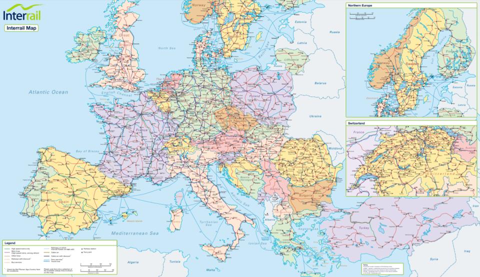 interrail countries map