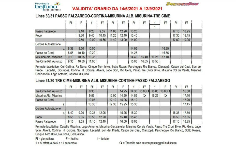 Bus timetable 2021 Cortina Misurina Three Peaks