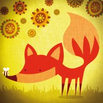 Fox-with-flowers