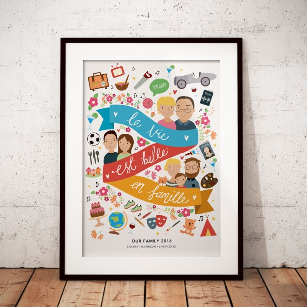 La Vie Est Belle En Famille personalised illustrated print for my family.