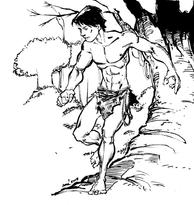 Tarzan Sketch. Thinking on coloring it. What do you think?