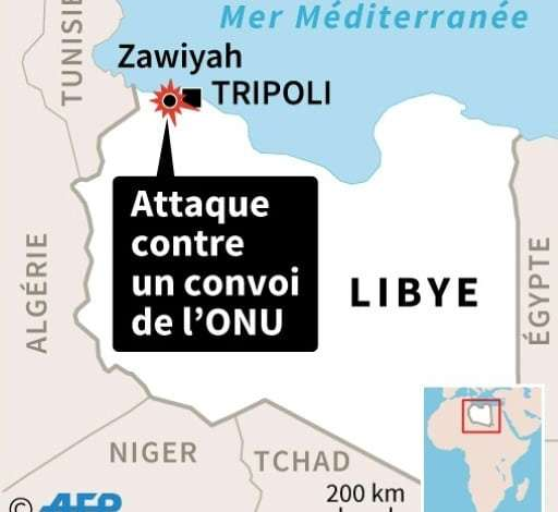 Libye: attaque contre un convoi de l'ONU   AFP   Sophie RAMIS