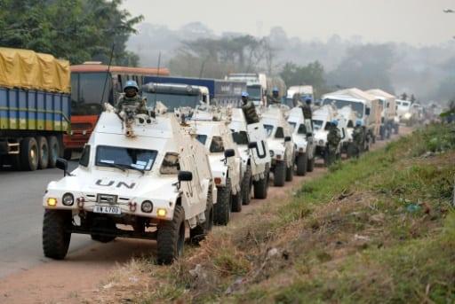 Un convoi de Casques Bleus de l'ONU, le 6 janvier 2017 à Bouaké, en Côte d'Ivoire   AFP/Archives   SIA KAMBOU