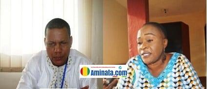 Abdoulaye Sow, secrétaire général du syndicat des banques et son numéro deux Marie Yvonne Coumbassa