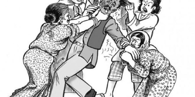 Illustration d'un homme polygame battu par ses épouses