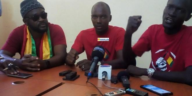 Foniké Mangué, Ibrahima Diallo et Sékou Koundouno, membres du front anti-3e mandat (FNDC)