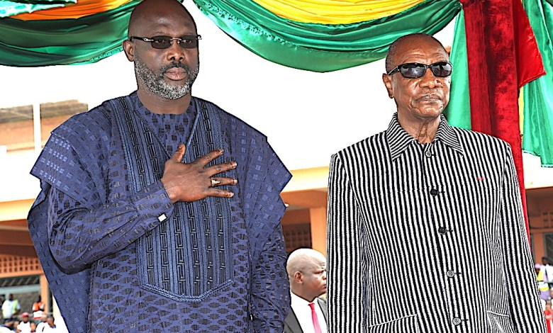 Alpha Condé et le président libérien Georges Weah