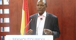 Alpha Condé lors d'un discours à la nation le 4 août, photo transmise par le bureau de presse de la présidence