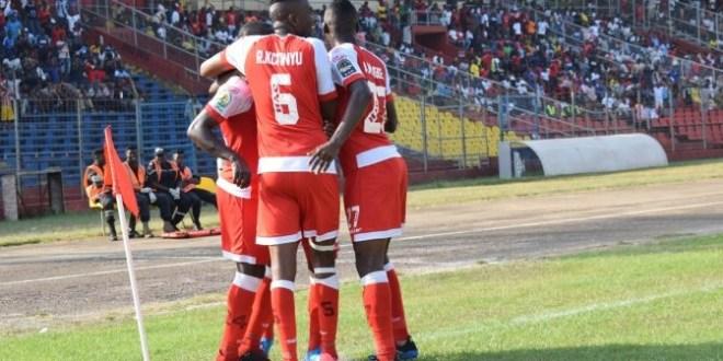 Des joueurs de Horoya lors d'un match au stade du 28 septembre