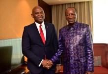 Tony Elumelu et Alpha Condé ce mercredi 8 janvier au Palais Sékoutoureyah