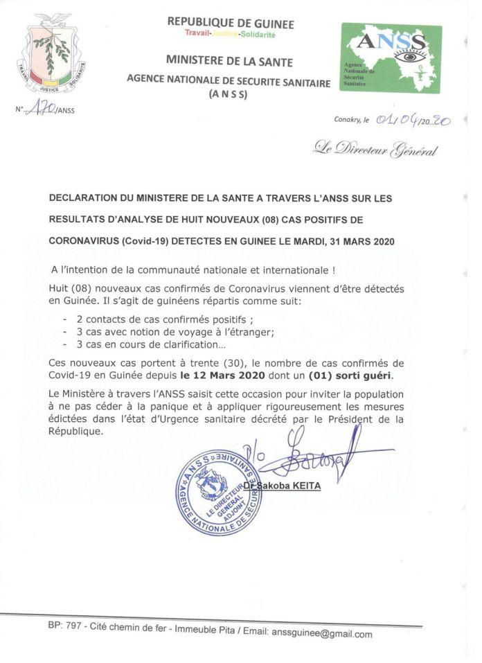 Covid-19 : 8 nouveaux cas confirmés en Guinée. Ce qui porte le nombre à 30