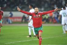 Un joueur marocain en train de célébrer son but