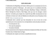 Communiqué de l'Ambassade de la République de Guinée en Allemagne relatif à la demande de visas pour la Guinée
