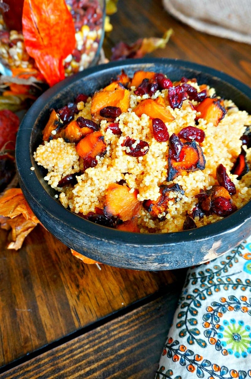 Butternut Squash Harvest Quinoa Salad: quinoa, roasted squash, cranberries, pepitas, and a pumpkin vinaigrette. Gluten Free. Vegan