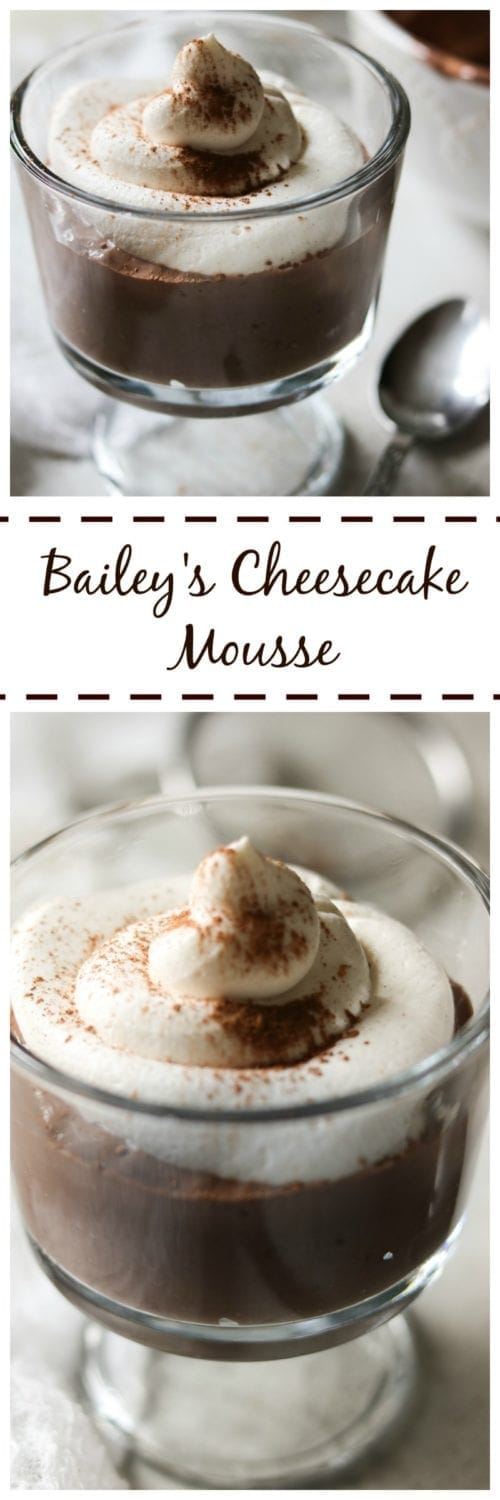 Baileys Mocha Mousse: A velvety smooth rich chocolate mousse studded with Bailey's liquor and espresso that's flavors are reminiscent of a cheesecake. Made lighter with Greek Yogurt.