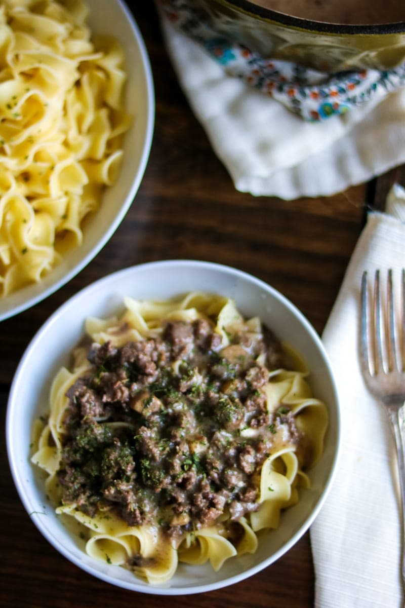Homemade Beef Stroganoff with From Scratch Cream of Mushroom. From scratch beef gravy served over buttered noodles for a comforting, hearty dish.