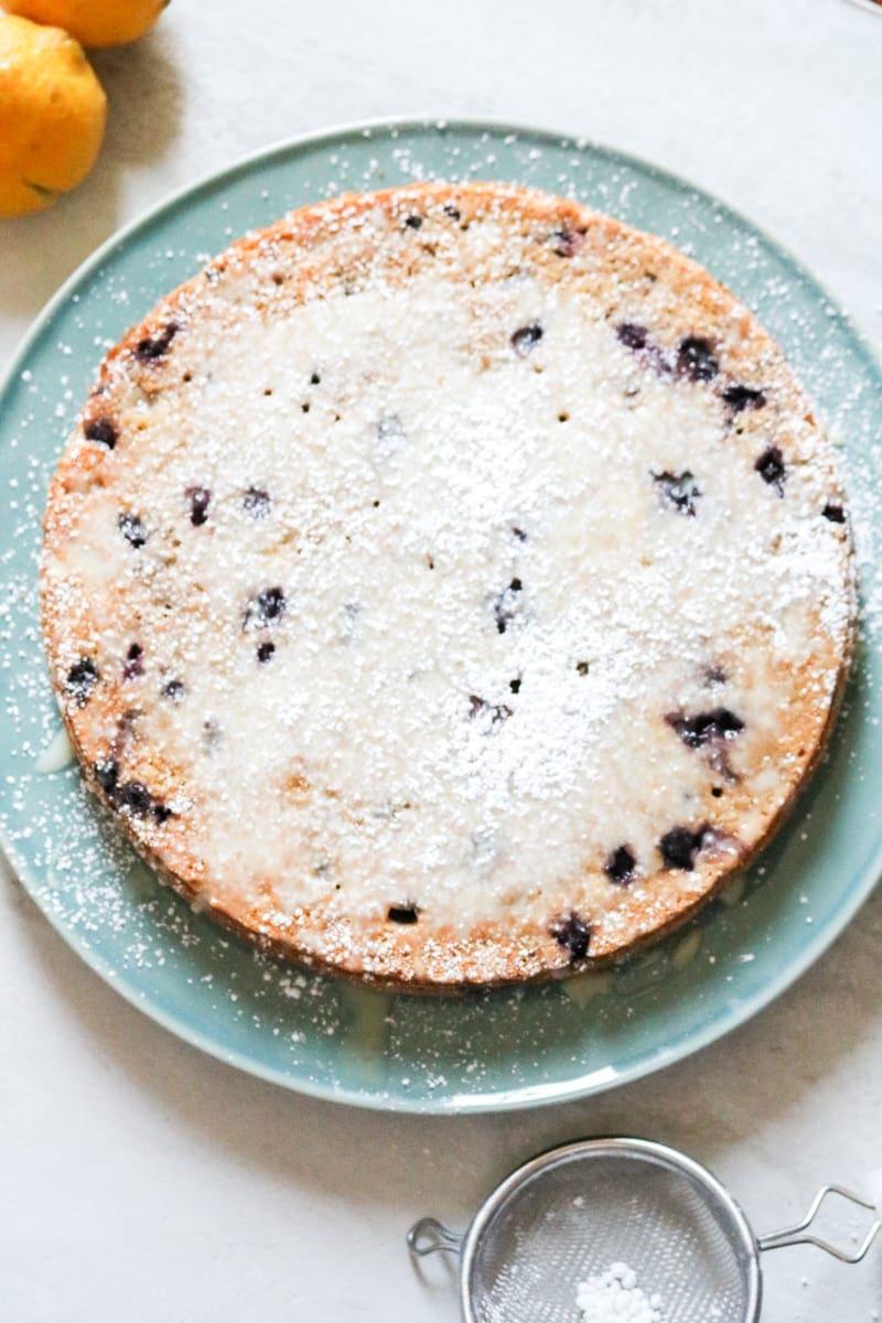 Blueberry Lemon Cake: Whole Wheat, naturally sweetened. Enhanced with a Lemon Glaze.