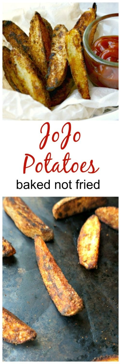 JoJo Potatoes: Wedges of thickly sliced potatoes that have been coated with a special seasoning blend and are crisp on the outside but perfectly tender on the inside. This is my healthy spin on a fried classic! #SundaySupper