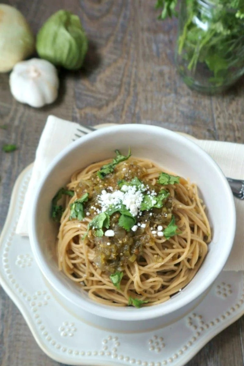 Salsa Verde Spaghetti: Tomatillos, onions, and jalapenos are roasted and combined with fresh cilantro and lime to form a unique sauce that pairs perfectly with pasta for a Mexican spin on an Italian favorite.