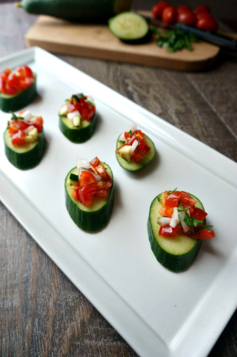 Gazpacho Cucumber Bites: All the flavors of a traditional Spanish Gazpacho turned into a handheld bite, making this a perfect Tapas dish! #SundaySupper
