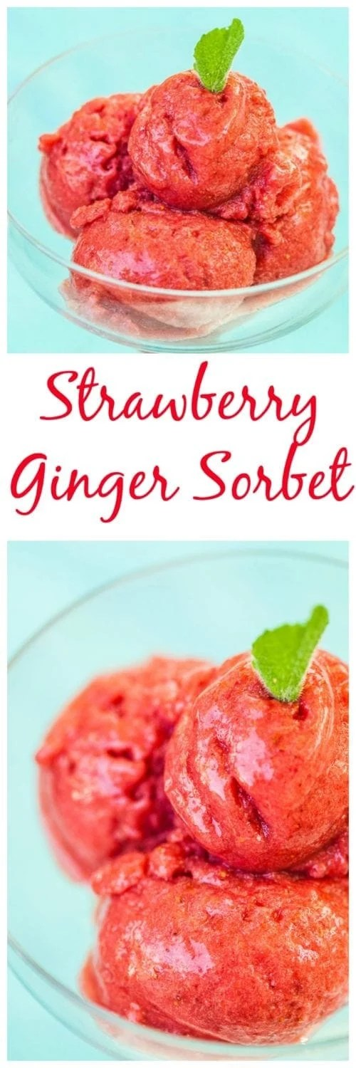 Strawberry Ginger Sorbet: a refreshing, dairy-free alternative to homemade ice cream.